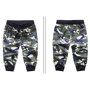 กางเกงผ้าฝ้ายขาจั๊มสามส่วน ลายทหาร เอวจั๊ม รูด ออกกำลังกาย ฟิตเนส แฟชั่น พราง size 28-40