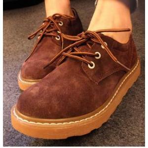 เล็กพรีออเดอร์หลากสี!! รองเท้าหุ้มส้นพิเศษ สไตล์ออกฟอร์ด หนังกลับ พิ้นหนา สีน้ำตาล เหลือง เบอร์ 36-40