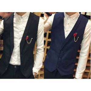 เล็กพิเศษ!!เสื้อกั๊กสูท คอปกเรียบหรู แฟชั่น ถอดเข็มกลัดได้ Size No33 35 37 39. ดำ น้ำเงิน