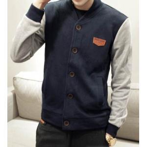 ราคาเบาๆ!! เสื้อแจ็คเก็ตเบสบอล สีน้ำเงินเทา โลโก้น้ำตาล No.36 38 40 42