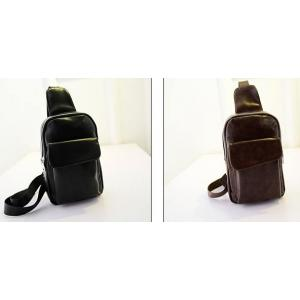 กระเป๋าสะพายเฉียงหนัง ฟลิป PU คลาสสิค สีดำ