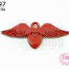 จี้โรเดียม หัวใจมีปีก สีแดง 25 มิล (1ชิ้น)