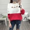 เสื้อแขนยาวแฟชั่นพร้อมส่ง เสื้อแขนยาวแต่งสีขาวสลับแดง แต่งสกรีน ฝูงแมว +พร้อมส่ง+