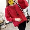 เสื้อแขนยาวแฟชั่นพร้อมส่ง เสื้อแขนยาวสีแดง แต่งสกรีนรูปหอคอย +พร้อมส่ง+