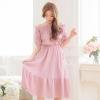 เสื้อผ้าแฟชั่นสไตส์เกาหลี เดรสเกาะอก สีชมพู แต่งจั้มเอว +พร้อมส่ง+