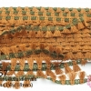 พู่ไหมเส้นยาว พู่สีน้ำตาลแถบสีเขียวขี้ม้าเข้ม กว้าง 1.5ซม(1พับ/18หลา)