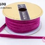 เชือกผ้า ริบบิ้นกำมะยี่ สีบานเย็น (1เส้น/1หลา)