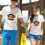 เสื้อคู่รัก ชุดคู่รักเที่ยวทะเล เสื้อผ้าแฟชั่น  ชาย  +หญิง  เสื้อยืดสีขาวลายลิง กางเกงขาสั้นสีฟ้า  +พร้อมส่ง+