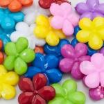 ลูกปัดพลาสติก สีขุ่น ดอกไม้ คละสี 20มิล(1ขีด/100กรัม)