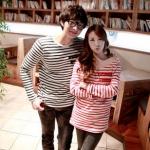 ชุดคู่รัก เสื้อคู่รักเกาหลี เสื้อผ้าแฟชั่น ชาย เสื้อยืดแขนยาว ลายทางขาวดำ หญิงเสื้อยืดแขนยาว ลายทางแดงขาว +พร้อมส่ง+