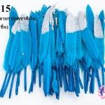 ขนนกก้าน สีฟ้าเข้ม ปลายกากเพชรสีเงิน (1ห่อ/50 ชิ้น)