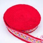 ผ้าแถบสีสด สีแดง กว้าง 4.5ซม (1ม้วน/50หลา)
