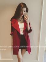 เสื้อคลุมคาร์ดิแกนปกใหญ่ สีแดง