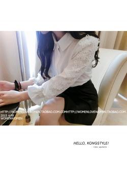 เสื้อแฟชั่นเกาหลี ทรงเชิต กระดุมหน้า แต่งแขนเสื้อด้วยลูกไม้ เนื้อผ้าฝ้าย ใส่สบาย
