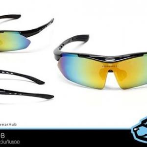 แว่นกันแดด พร้อมกล่อง+ผ้าเช็ดแว่น กรอบดำ เลนส์ color