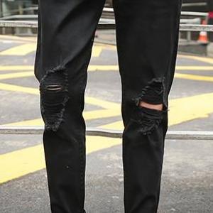 กางเกงยีนส์ แฟชั่น5ส่วน ขาดเข่าริ้ว สวย เอว No.27-36 ดำ