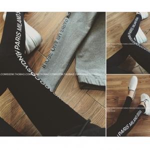 กางเกงสปอต พิมพืลายแถบข้างตามรูป เนื้อผ้า cotton สีดำ