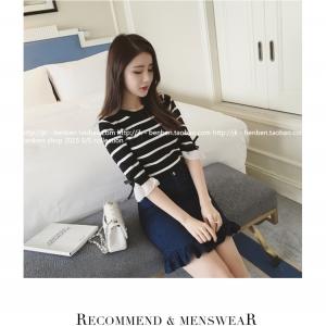 เสื้อแฟชั่นเกาหลี แขน 2 สวย แต่งแขนด้วยผ้าแก้วแต่งโบว์น่ารัก ๆ สีดำ