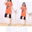 เสื้อคลุมท้องแขนสั้น ลายเด็กติดโบว์ : สีส้ม รหัส SH212 thumbnail 2