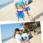 เสื้อคู่รัก ชุดคู่รักเที่ยวทะเลชาย +หญิง เสื้อยืดสีขาวลายคู่รักนอนตากแดด กางเกงขาสั้นลายพระต้นมะพร้าวโทนสีส้มฟ้า +พร้อมส่ง+ thumbnail 5