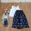 เสื้อผ้าแฟชั่นพร้อมส่ง - ชุดเซ็ท ได้ 2 ชิ้น เสื้อคอวีแต่งมุก+กางเกงขาบานลายขนนก thumbnail 2