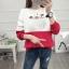 เสื้อแขนยาวแฟชั่นพร้อมส่ง เสื้อแขนยาวแต่งสีขาวสลับแดง แต่งสกรีน ฝูงแมว +พร้อมส่ง+ thumbnail 2