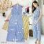 เสื้อผ้าแฟชั่นพร้อมส่ง - จั้มสูทลายตารางพิมพ์ดอกไม้สีฟ้า thumbnail 3
