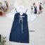 เสื้อผ้าแฟชั่นเกาหลีพร้อมส่ง - ชุดเซ็ตได้ 2 ชิ้น เอี้ยมยีนส์ทรงกระสอบ +เสื้อคอปกแต่งแขนระบาย thumbnail 3