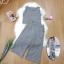 เสื้อผ้าแฟชั่นพร้อมส่ง - ชุดเซ็ตได้ 2 ชิ้น เสื้อแขนกุดลายตาราง+กางเกง สีเทา thumbnail 2