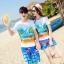 เสื้อคู่รัก ชุดคู่รักเที่ยวทะเลชาย +หญิง เสื้อยืดสีขาวลายคู่รักนอนตากแดด กางเกงขาสั้นลายพระต้นมะพร้าวโทนสีส้มฟ้า +พร้อมส่ง+ thumbnail 1