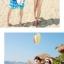 เสื้อคู่รัก ชุดคู่รักเที่ยวทะเลชาย +หญิง เสื้อยืดสีขาวลายคู่รักนอนตากแดด กางเกงขาสั้นลายพระต้นมะพร้าวโทนสีส้มฟ้า +พร้อมส่ง+ thumbnail 4