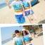 เสื้อคู่รัก ชุดคู่รักเที่ยวทะเลชาย +หญิง เสื้อยืดสีขาวลายคู่รักนอนตากแดด กางเกงขาสั้นลายพระต้นมะพร้าวโทนสีส้มฟ้า +พร้อมส่ง+ thumbnail 2