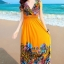 พร้อมส่ง สีเหลืองอมส้ม คอวีลึก แขนกุด แต่ง ย่นๆช่วงหัวไหล่ ลายดอกไม้สีสัน สม๊อคช่วงเอว สวยมากๆค่ะ thumbnail 1