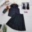 เสื้อผ้าแฟชั่นพร้อมส่ง - เซ็ต 2 ชิ้น เสื้อแขนกุด+กระโปรงลูกไม้ สีดำ thumbnail 2